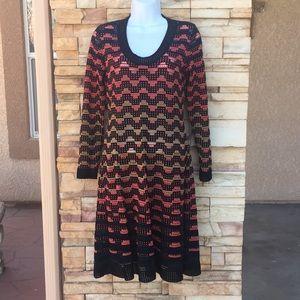 Missoni long sleeve dress black/ orange/ New